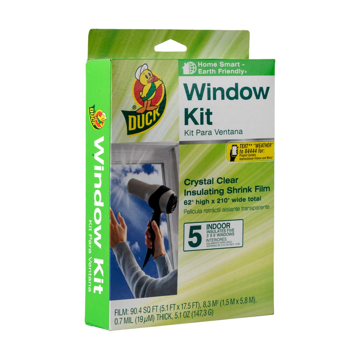 Duck Brand Indoor 5-Window Shrink Film Insulator Kit, 62-Inch x 210-Inch, 286217