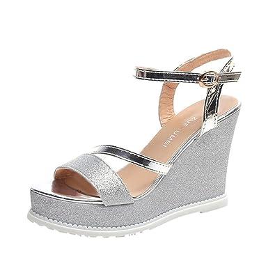 c9afa670dc22e1 Damen Sandalen Ronamick Damen Keile Schuhe Sommer Sandalen Plateau Toe High  Heels (35