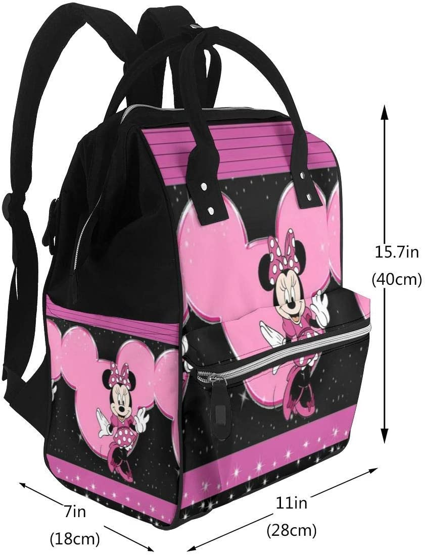 NHJYU Sac /à langer Sac /à dos Beautiful Minnie Multifunction Waterproof Travel Sac /à dos Maternity Baby Nappy Changing Bags