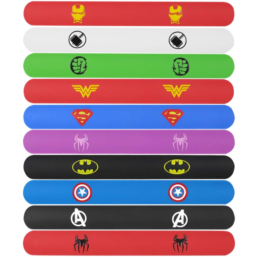 POKONBOY Superhero Slap Bracelets for Kids Party favors - 24 Pack Slap Bracelets for Boys Girls Kids Super Hero Birthday Party Favors Supplies Carnival Boys Prizes by POKONBOY (Image #3)