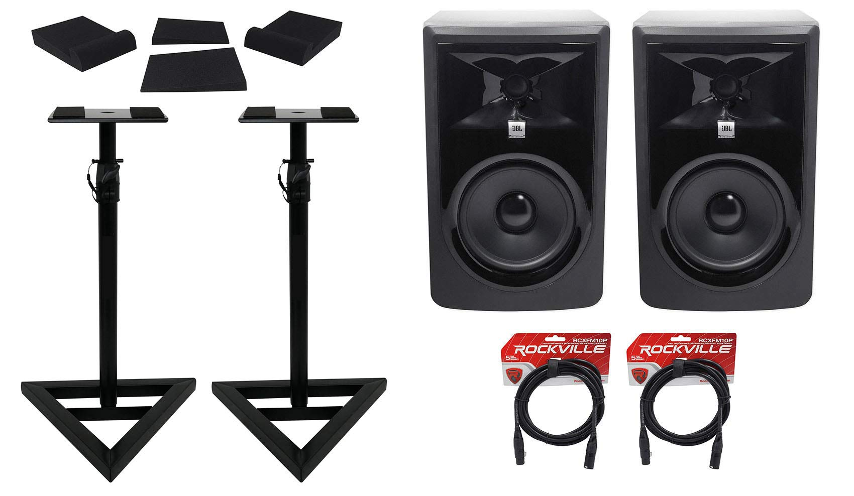 (2) JBL 306P MkII 6'' Powered Studio Reference Monitors+Stands+Pads+XLR Cables by JBL (Image #1)