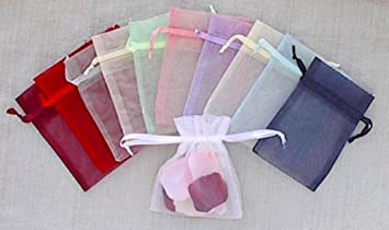 Amazon 100 pcs organza drawstring pouches gift bags assorted 100 pcs organza drawstring pouches gift bags assorted colors 3x4 inches negle Image collections