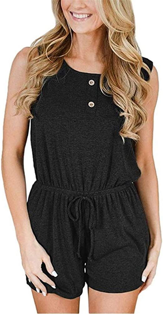 S, Black XUYUS Womens Summer Sleeveless Jumpsuit Casual Loose Drawstring Short Jumpsuit Rompers with Pockets