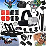 Xtech® PARACHUTING Accessories Kit for GoPro Hero 4 3+ 3 2 1 Hero4 Hero3 Hero2 - Hero 4 Silver - Hero 4 Black - Hero 3+ Hero3+ and for Bungee Jumping - Cliff Diving - Parachuting - Base Jumping - Paragliding - Hang Gliding Includes: Helmet Harness Mount + Head Strap Mount + Chest Strap Mount + Camera Wrist Mount + 2 J-Hooks + Selfie Stick Monopod Pole + 3 Curved Adhesive Stickers + Curved Surface Mounts + MORE