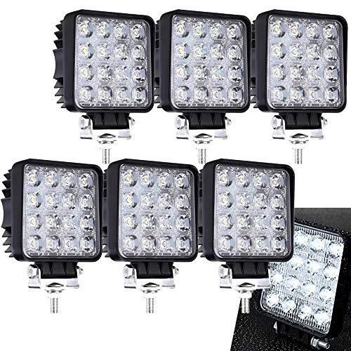 6 x 48 W Cuadrado Miracle - Reflector led luz de trabajo SUV, UTV, ATV, faro adicional Foco 12 V 24 V de marcha atrás: Amazon.es: Coche y moto