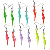 Flash Lightning Bolt Silver Plated French Hook Dangle Earrings Set of 5 colors