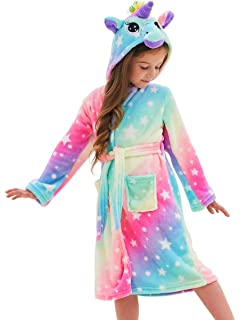 Fun Unicorn Robe Girls Nightgown Toddler Hooded Robe THE SUNNY FACTORY Unicorn Girls Bathrobe Soft Plush Robes for Girls