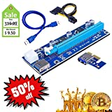 BIT VTC ETH Mining Card,PCI-E Riser Express Cable VER 006C 6PIN 1x to 16x/60cm USB 3.0 Extension Cable for Bitcoin Ethereum Vtcoin Mining Graphics Extension Power Cable GPU Riser Adapter (1 pack)