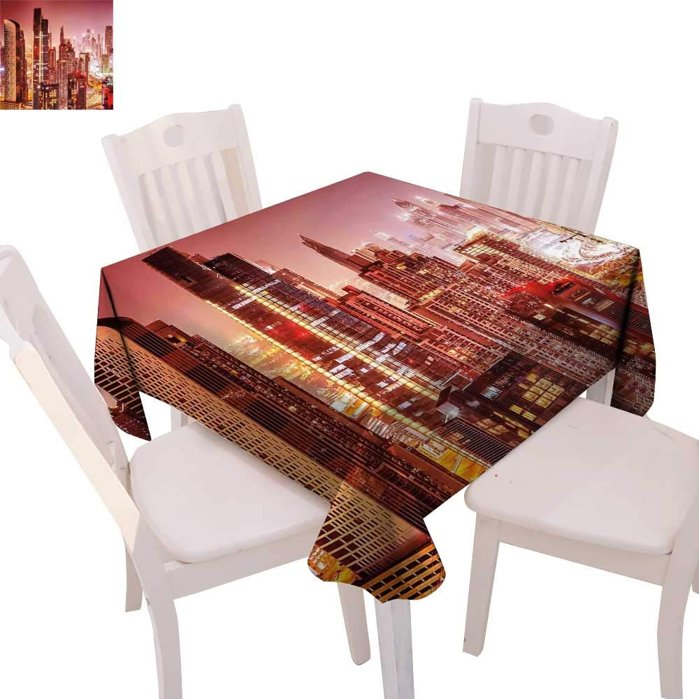 """cobeDecor Cityscape Dinning Tabletop DecorDubai at Night Cityscape with Tall Skyscrapers Panorama Picture Arabian Peninsula Table Cover for Kitchen 70""""x70"""" Pink Gold"""