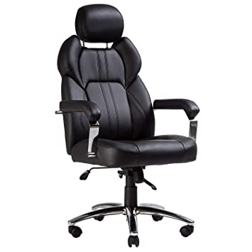 Amazon.com : TOPSKY Executive Office Chair Large Leather Chair with Adjustable Headrest High Back New Black : Office Products