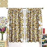 42 Inch Square Ottoman Kitchen Decor Blackout Curtain Victorian Golden Lace Antique Baroque Pattern Oriental Ottoman Royal Square Pattern Customized Curtains White Gold W55 x L63 inch