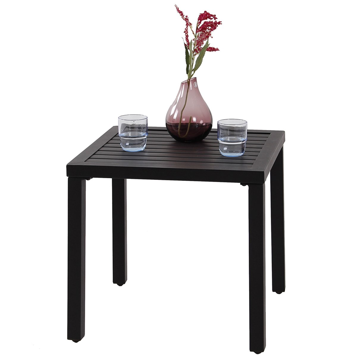 PHI VILLA Indoor Outdoor Small Metal Square Side/End Table, Patio Coffee Bistro Table, Black by PHI VILLA