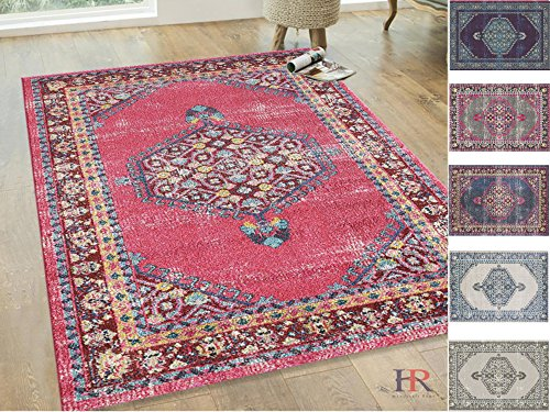 Handcraft Rugs Persian Rug – Faded, Oriental Distressed Area Rug – Modern Vintage Design Persian Area Rug – Abstract, Multicolor Kashan Design Persian Rug – Cherry/Navy Blue/Yellow /Gary (5 x 7 feet)