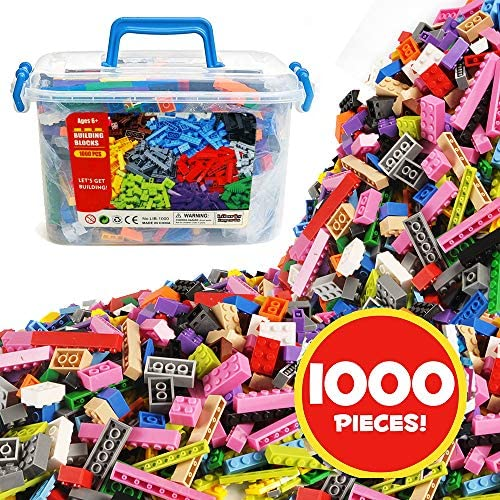 Liberty Imports Deluxe Bucket of Building Bricks Playset – 16 Color Classic and Pastel Mix Blocks Set with Roof Pieces in Carrying Case – Tight Fit and Compatible with All Major Brands (1000 Pieces)