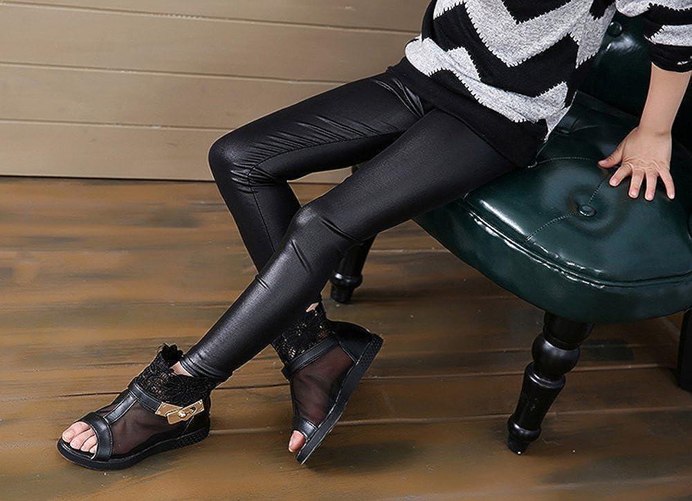 812da6ab045e8 Amazon.com: Fitcat Kids Toddler Girls Faux Leather Pants Shiny Strech  Leggings Tights: Clothing