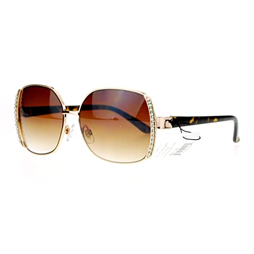 010dc88a45f7 Amazon.com  SA106 Womens Iced Out Rhinestone Rectangular Butterfly Sunglasses  Gold Tortoise  Clothing