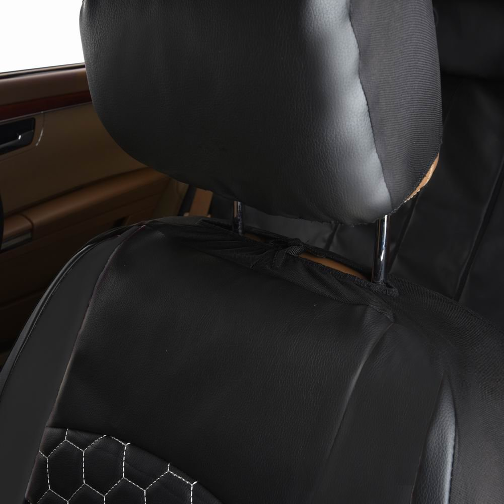 Flying Banner 6 PCS Black Lichee Pattern Pu Leather Sporty Car Seat Covers with Football Pattern Embroidery Design Ningbo Qiyang International Trade Co Ltd