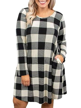 a8ab1e0a8c7 Plus Size Womens Buffalo Plaid Dresses Christmas Long Sleeve Tunic Shirt  Dress Black