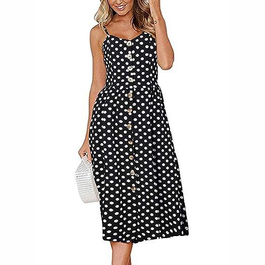 891db4f46383 ALOVEMO Summer Dress Fashion Womens Polka Dot Print Backless Sundress  Button Chiffon Camis Long Dress Black