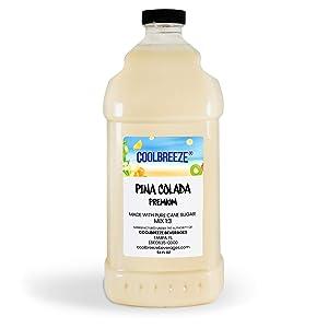 Coolbreeze Beverages Frozen Drink Flavor Mixes - Frozen Beverage Machine or Home Blender Use - Ready To Use Margarita Daiquiri Granita Slush Bar Mixers - 1/2 Gallon Bottle (Pina Colada Premium)