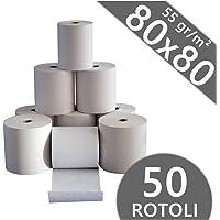 Confezione 50 Rotoli Termici mm 80x80 mt 55 gr. mq Omologati per Registratore di Cassa Carta Termica 1^ Qualità
