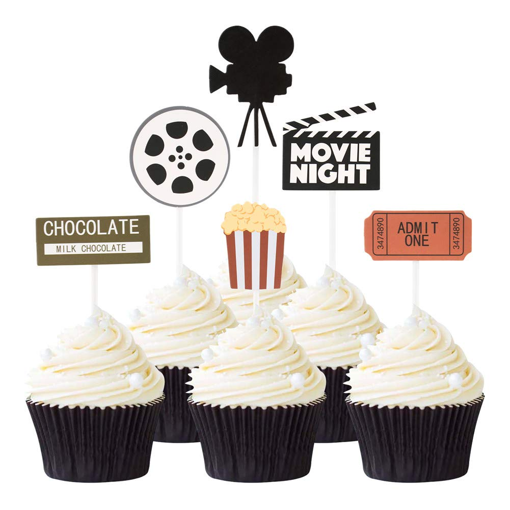 48 Pcs Movie Night Cupcake Toppers For Hollywood Movie Theater Themed Birthday Party Decorations No Diy Required Amazon Com Grocery Gourmet Food