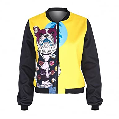 Spring Women Bomber Jacket Miami French Dog Printing Fashion Chaquetas Mujer Outwear for Woman Basic Jackets