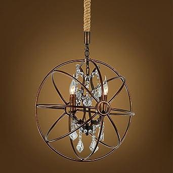 Modern Deckenlampe Rustikale Eisen Kronleuchter Globus E14 * 3  Pendelleuchte Treppenhaus Villa Wohnzimmer Cafe Birdhouse Kronleuchter