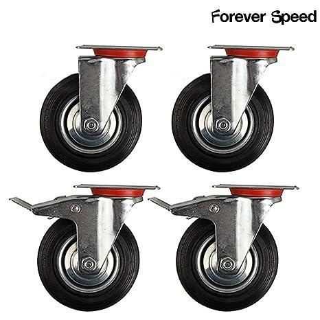 Forever Speed Lote de 4 Ruedas Giratorias Ø 75mm ruedas giratorias de goma 2 con freno