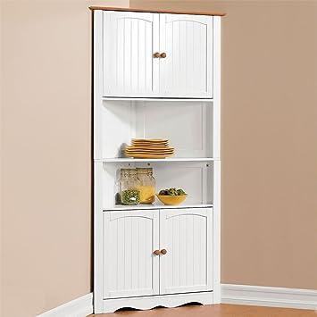 Brylanehome Country Kitchen Corner Cabinet (White Honey)