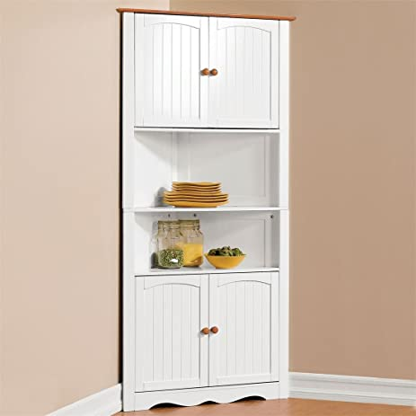 Amazon.com: Brylanehome Country Kitchen Corner Cabinet (White ...