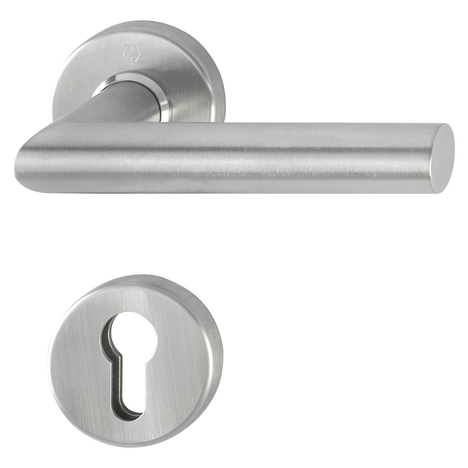 Hoppe 3901891Security Door Handle Half Set Amsterdam Amsterdam, Matt Stainless Steel, Suitable for Key Button Long Plate Door Thickness 8mm 67to 72mm, Square Pin, Rundrosette PZ