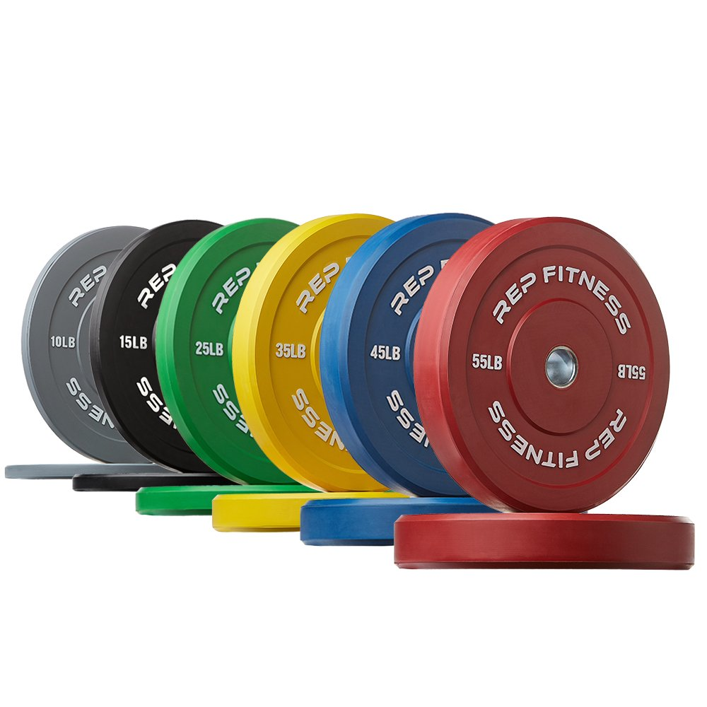 Rep Color Bumper Plates for Strength and Conditioning Workouts and Weightlifting, 370 lb Set