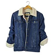 Dora Bridal Men's Sherpa Lined Denim Jacket Button Down Classy Warm Casual Quilted Jeans Coats Outwear