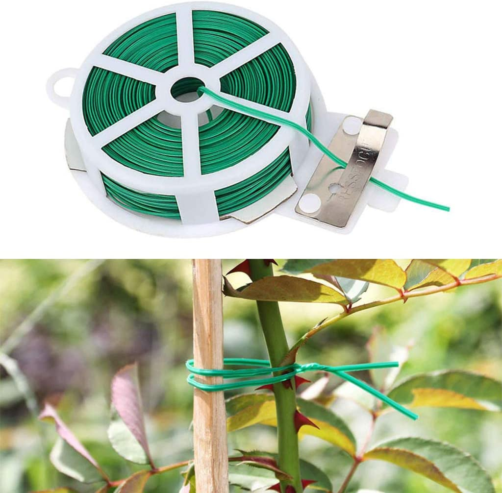Atadura de torsión para plantas de 50 m con cortador Cable de hogar de jardinería de alambre revestido verde resistente