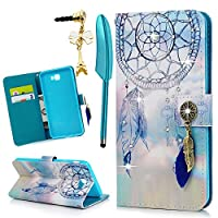 MOLLYCOOCLE Galaxy J7 Prime Case 2016, Wallet Case Shiny Rhinestone Dream Catcher Pattern Credit Card Holder Full Body Soft TPU Inner Bumper Protective Cover for Samsung Galaxy J7 Prime, Blue