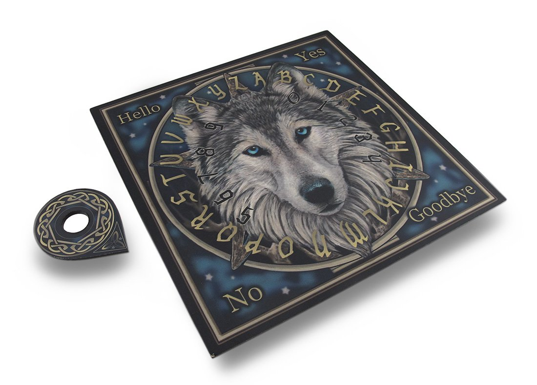 Zeckos Wood Fortune Telling Toys Lisa Parker Wild One Wolf Spirit Board 15 X 15 X 1 Inches Gray