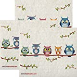 Owl Friends Set of 3 each Swedish Dishcloths | ECO Friendly Absorbent Cleaning Cloth | Reusable Cleaning Wipes