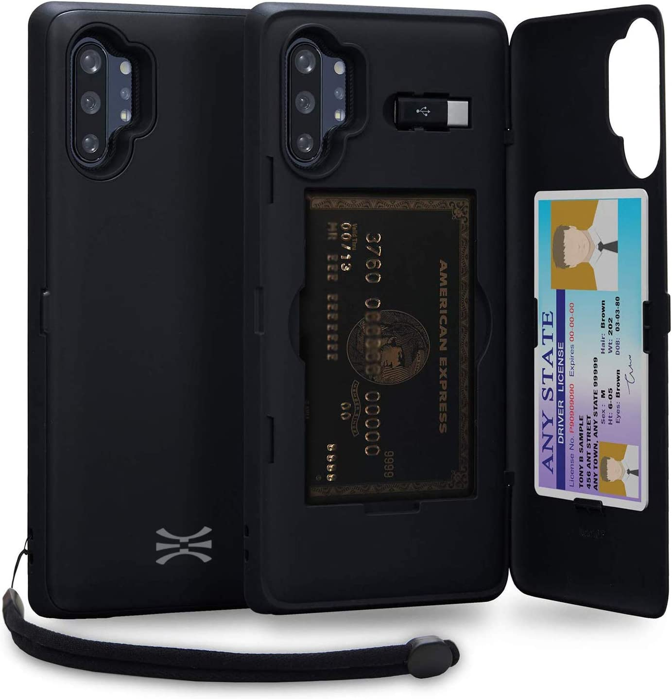 Funda cartera negra con tarjetero oculto para Note 10 Plus