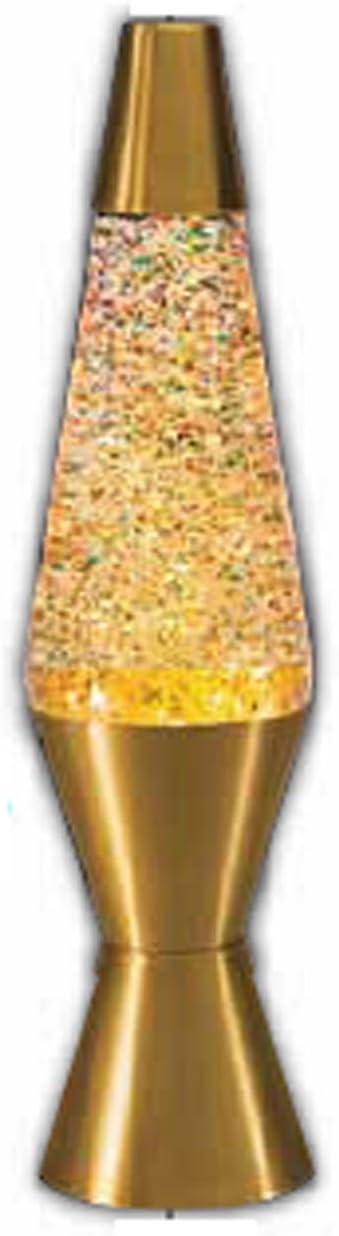 14.5-Inch Gold Base Lamp with Rainbow Glitter Wax in Clear Liquid - - Amazon.com