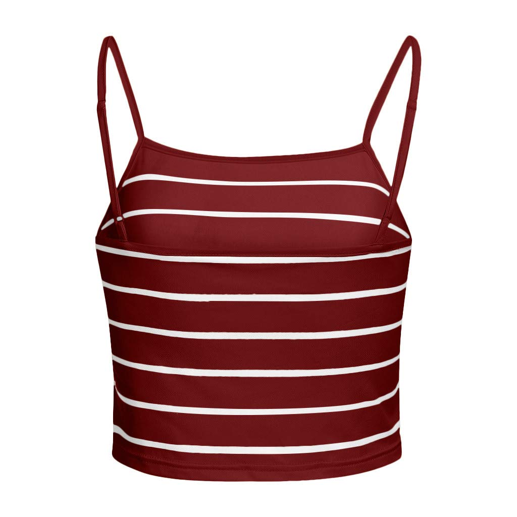 Minisoya Women Summer Sleeveless Casual Striped Camisole Vest Crop Tank Tops Wine by Minisoya Women Blouse (Image #4)