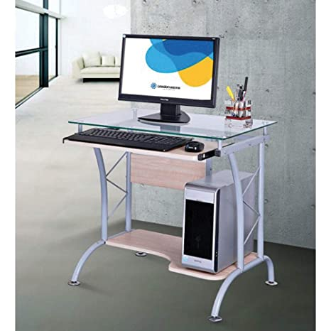 Scrivania Pc In Vetro.Scrivania Porta Computer Pc In Acciao E Vetro Piano Estraibile Fumer