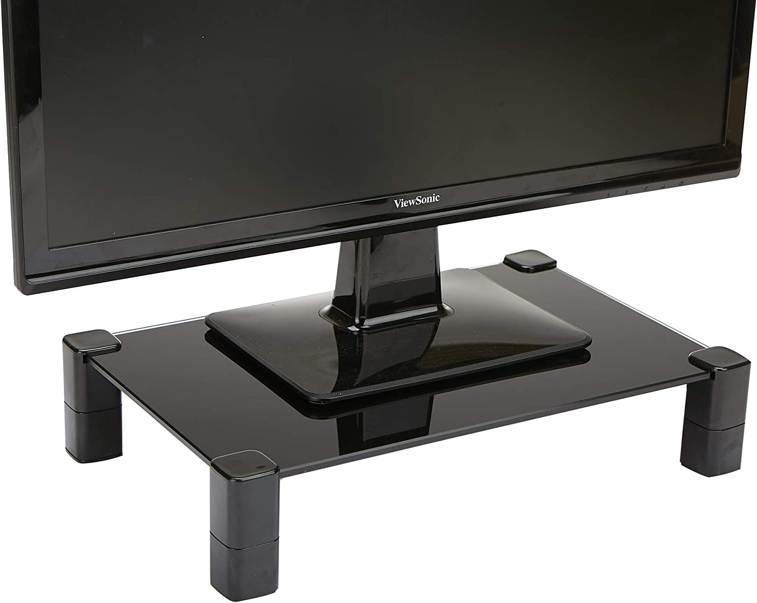Mind Reader 4LEGLASS-BLK 4 Leg, Desktop Monitor Riser for Computer, Laptop, Desk, iMac, Dell, HP, Black Glass Stand