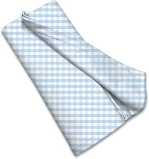 product image for SheetWorld Soft & Stretchy Swaddle Blanket - Blue Gingham Check - Made In USA