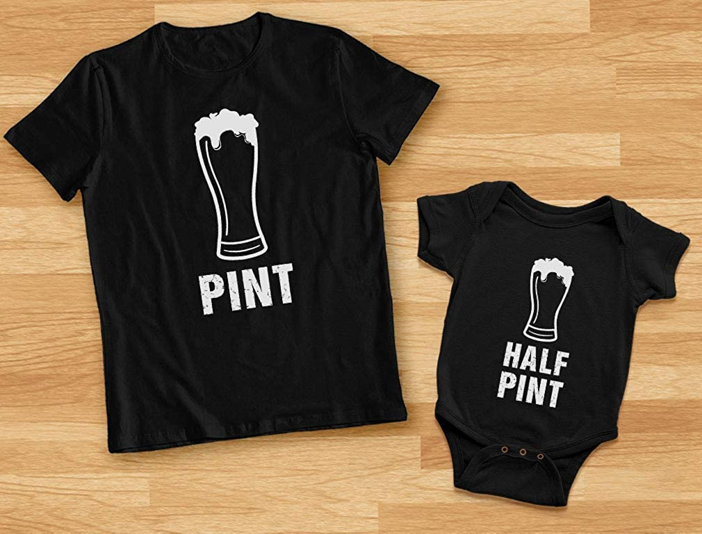 Pint /& Half Pint Baby Bodysuit /& Mens T-Shirt Matching Set