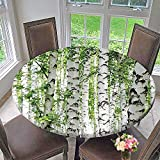 """Mikihome Round Table Tablecloth Woodland Birch Trees in The time Wildlife Themedating ES White Green for Wedding Restaurant Party 59""""-63"""" Round (Elastic Edge)"""