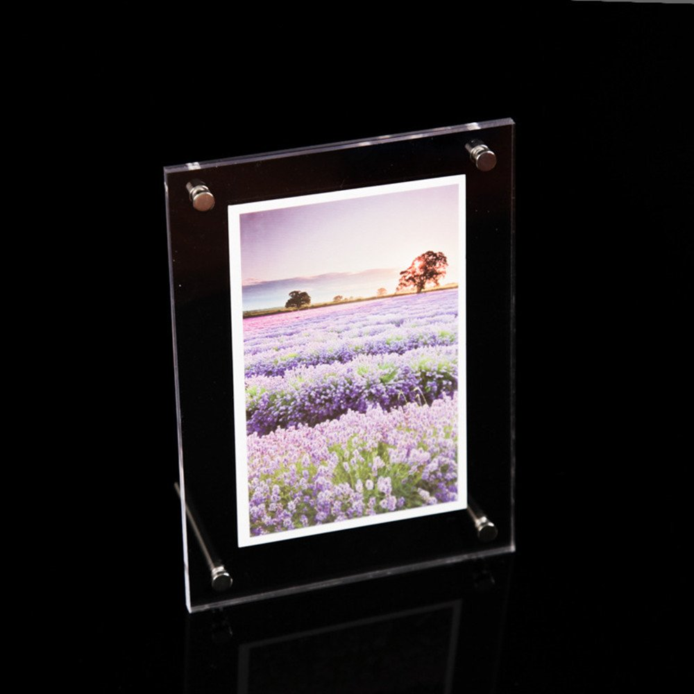 JunShop Clear Acrylic Picture Frames Vertical Tabletop Slant Photo Frame Table Sign Display Holder Ad Picture Frame Brochure Holder (6×8inch)