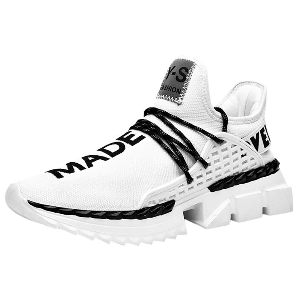 Men's Sneakers Casual Ultra Lightweight Breathable Athletic Running Walking Gym Training Sport Shoes (US:7, White)