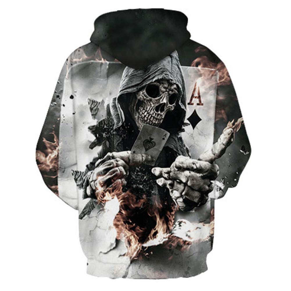 XLGJWY 3D Pullover Hoodies 3D Skull Hoodies Men Women Grim Reaper Poker 3D Print Harajuku Hoody Sweatshirt Pullover Top Plus Size 5XL