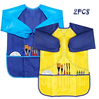KICOSY 2 Pack Kids Apron Toddler Art Smock Toddler Smock for Kids Smock Children Waterproof Painting Aprons Artist Smock Toddler Smocks for Painting (Blue & Yellow): Toys & Games